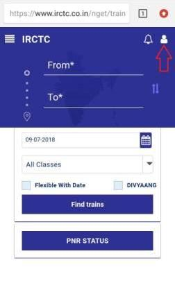 Picture of new iRCTC mobile website