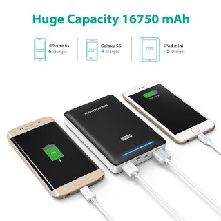 cuts recharging time behalf, Power Bank RAVPower 16750mAh, £17.99 (amazon Prime)