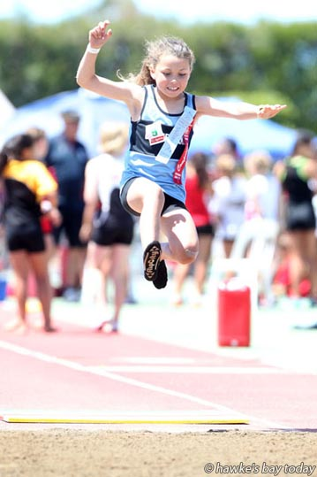 Leah Kent, Dannevirke, girls' long jump grade 9, Colgate Games at Hawke's Bay Regional Sports Park, Hastings. photograph
