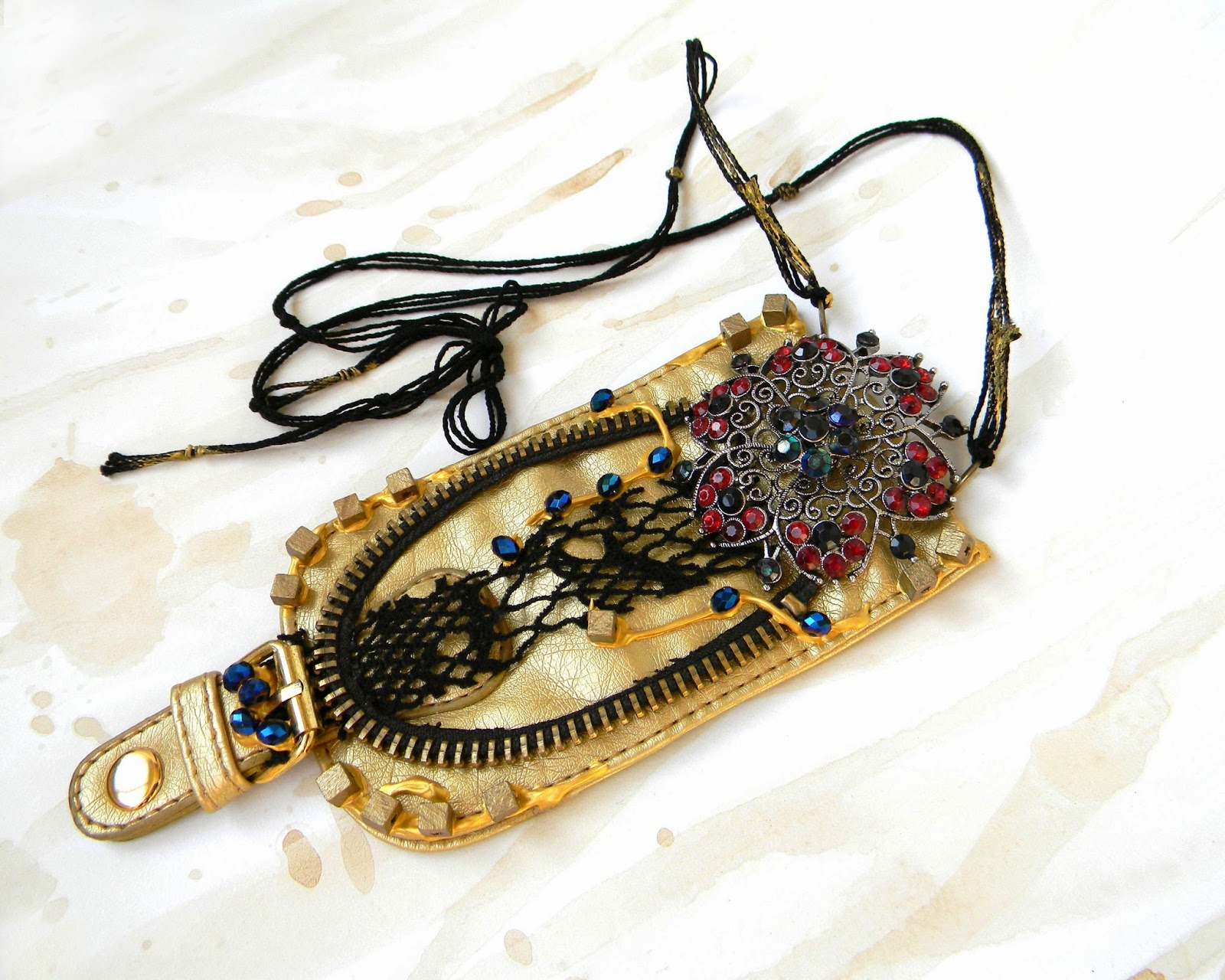 Victorian Gothic Neck Piece, Rich Gold Eco Leather Necklace with Vintage Recycled Brooch and Crystal Beads