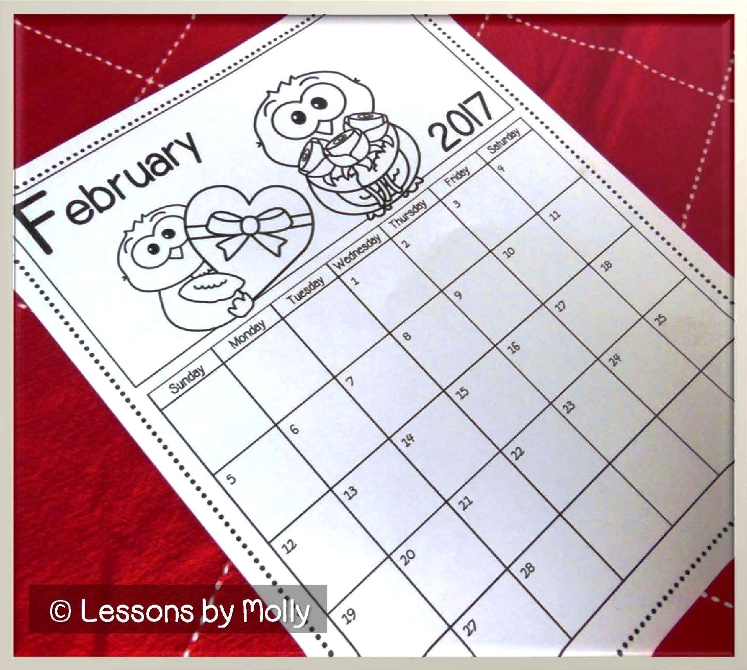 lessons by molly  free school calendar