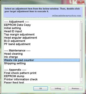 reset printer epson program adjustment