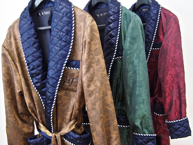 mens silk dressing gowns long quilted robe paisley luxury navy blue gold burgundy dark green