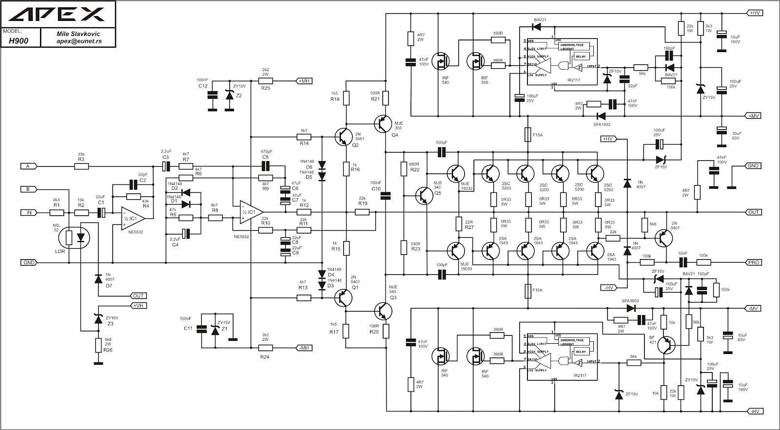 kumpulan skema electronika: skema power amplifier Apex H900