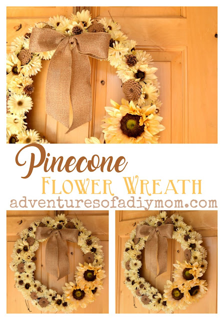 How to make a fall wreath using flowers and pine cones. Off-white flowers paired with rustic pine cones and a burlap bow create a timeless wreath for your front door. #pineconeflowers #flowerwreath #pineconewreath #fallwreath #DIYflowerwreath #diypineconewreath #howtomakeafallwreath