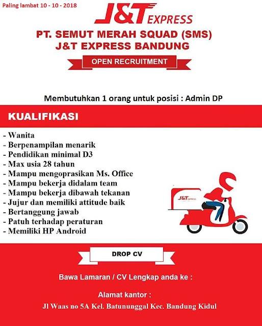 Lowongan Kerja Admin PT Semut Merah Squad J&T Express Bandung