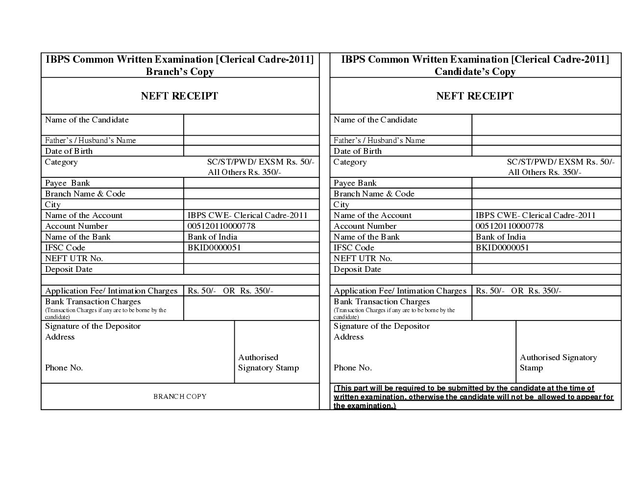 sbi associate bank clerk recruitment 2012 challan form download