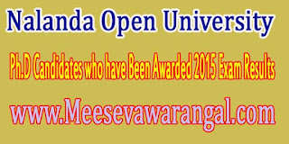 Nalanda Open University Ph.D Candidates who have Been Awarded 2015 Exam Results