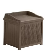 Suncast SSW1200 Mocha Resin Wicker 22-Gallon Storage Seat, Wicker Trash Hideaways, Patio Furniture, Outdoor Furniture, Outdoor Wicker Furniture, Wicker Patio Accessories,