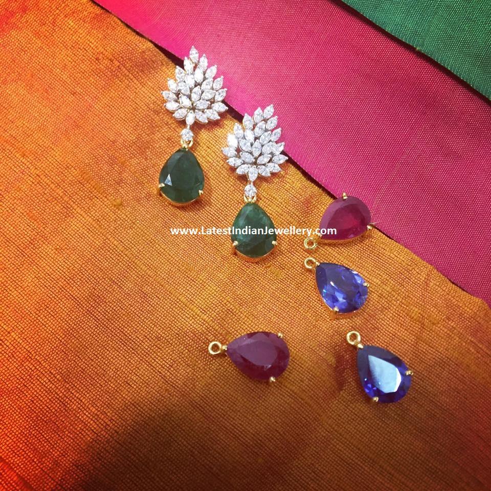 Changeable Drops Diamond Earrings