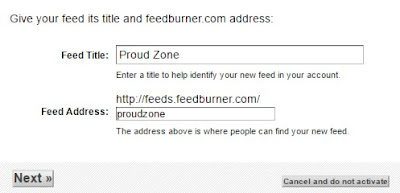 Setting Up your FeedBurner Feed Step3