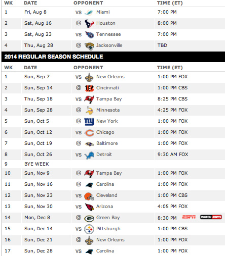 Real Madrid Schedule 2014-2015
