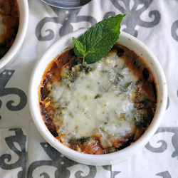Eggplant casserole in a delicious sauce topped with cheese