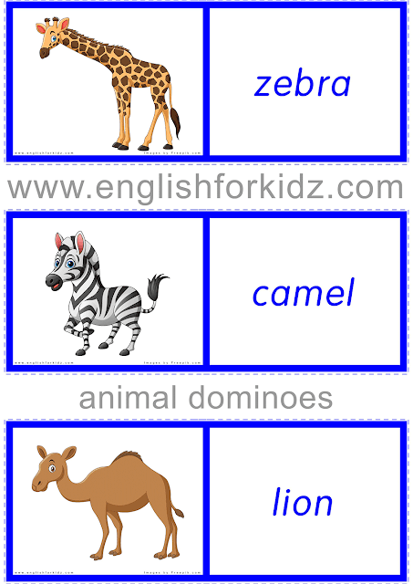Printable African animals dominoes - free ESL materials