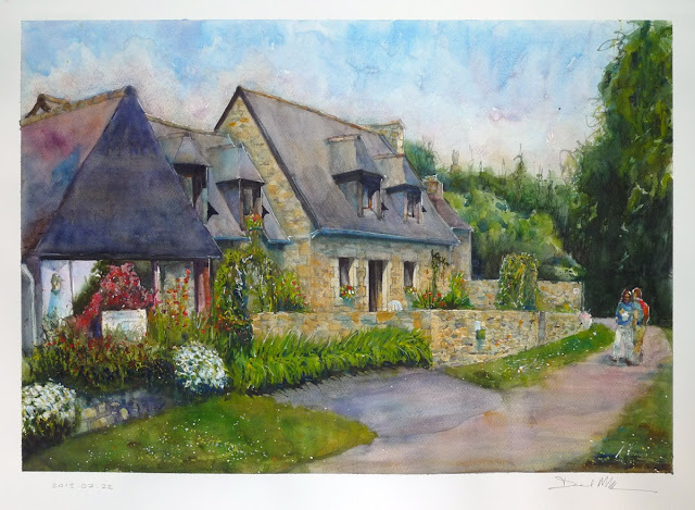 Watercolour of home in Paimpol, France by David Meldum