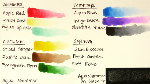 Tonic Nuvo Aqua Flow Watercolor Summer, Autumn & Winter Pens Color Chart