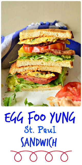 This egg foo yung sandwich actually hails from St. Louis. Made with egg foo yung pancakes and bacon and tomato, this is a winner! www.thisishowicook.com #sandwich #Asianfood