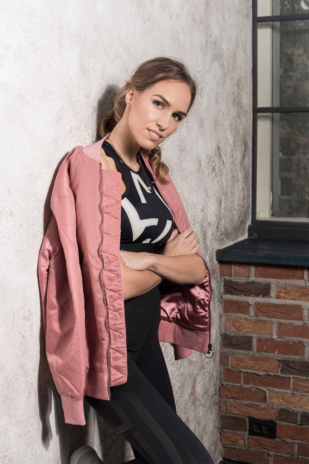 reebok pink bomber jacket workout outfit