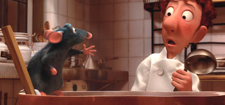 Remy talking to Linguini in Ratatouille animatedfilmreviews.filminspector.com