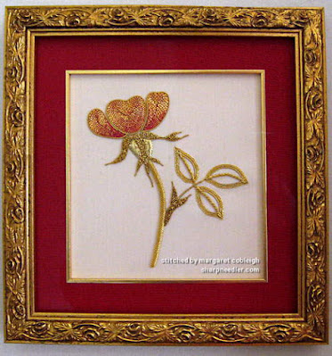 Completed and framed goldwork rose (from RSN class)