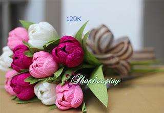 Hoa Tulip giấy phối 3 màu