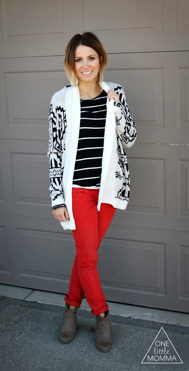 Red cords with Aztec sweater