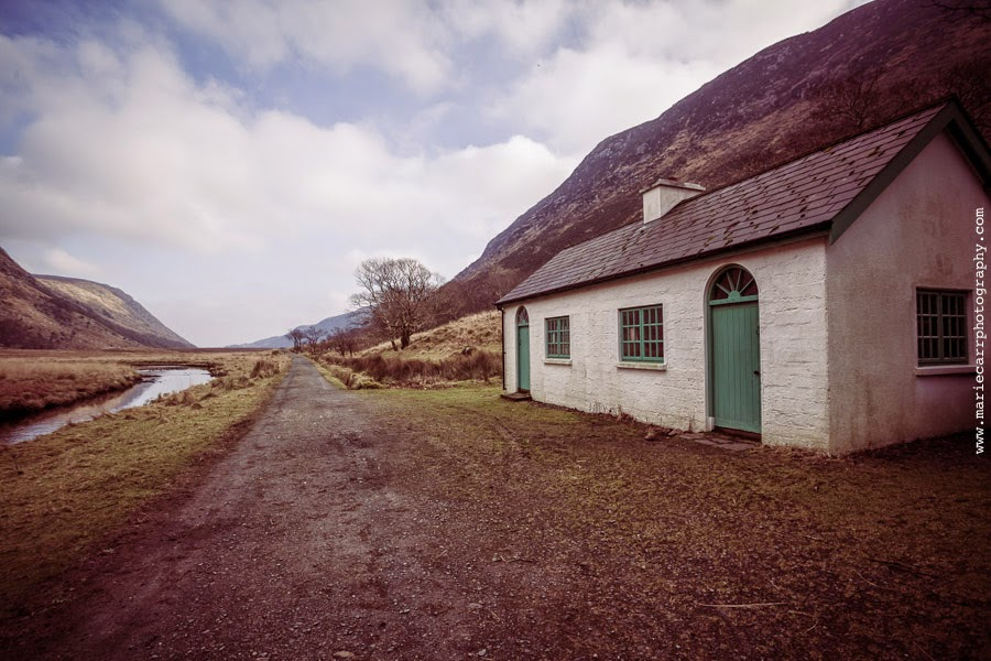 The little white house on the bridle path in Glenveagh National Park, Co. Donegal, Ireland