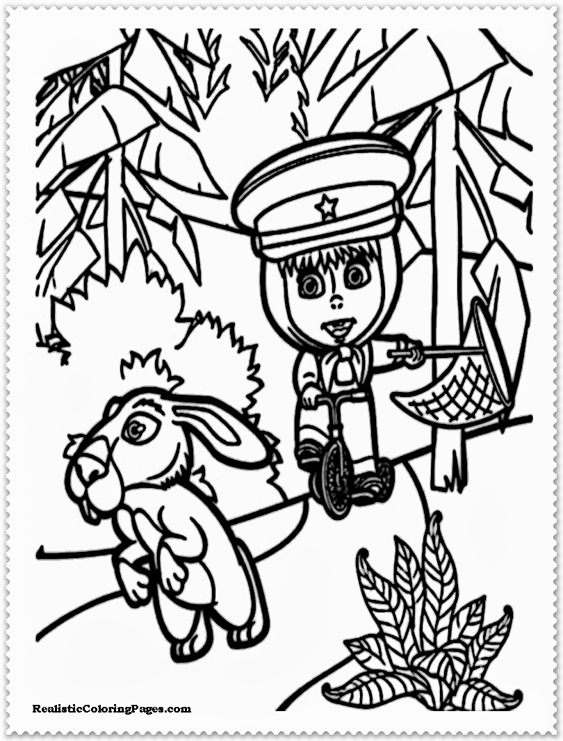masha and the bear printable coloring pages