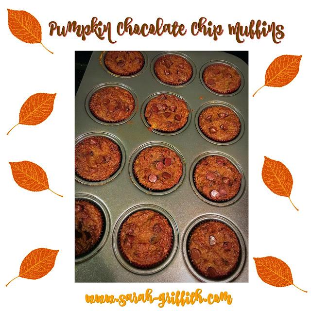 fall baking, paleo, paleo muffins, pumpkin muffins, pumpkin chocolate chip, gluten free muffins, sarah griffith,
