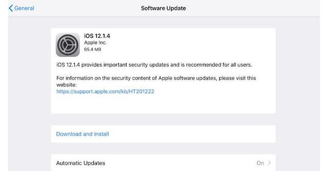 أخير تحديث من آبل iOS 12.1.4 للتصحيح ثغرات تطبيق FaceTime