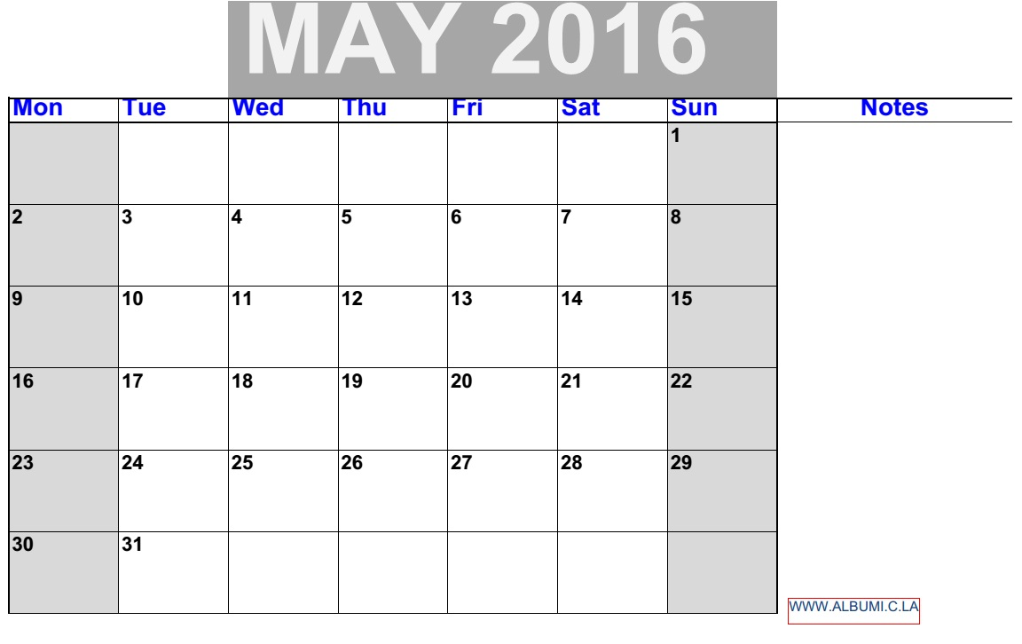 Monthly June 2016 kalendar with notes case. printable for your personal use.