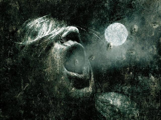 Imagen tenebrosa de una persona recibiendo en su aliento la muerte (calaveras)