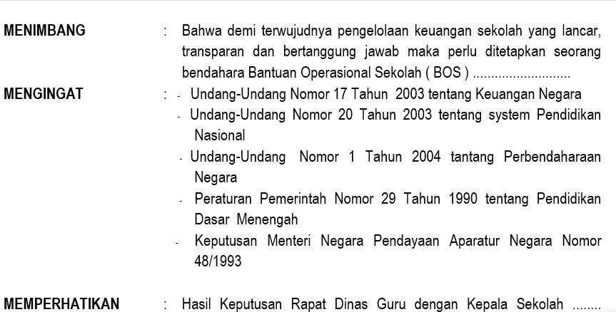 Contoh Surat Keputusan Tentang Penunjukan Bendahara Bantuan