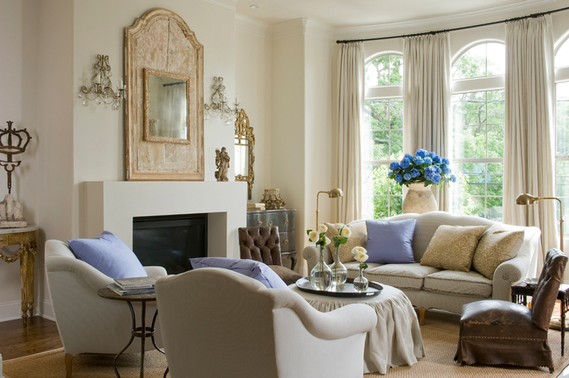 Myers Briggs Personality Types and Home Decor Neutral Contemporary Living Room with Fireplace Blue and Yellow Flowers