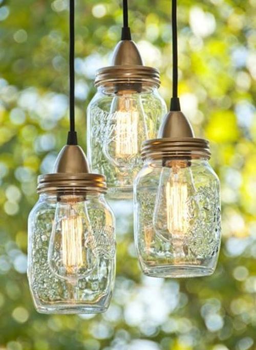 Diy lámpara con frascos de cristal