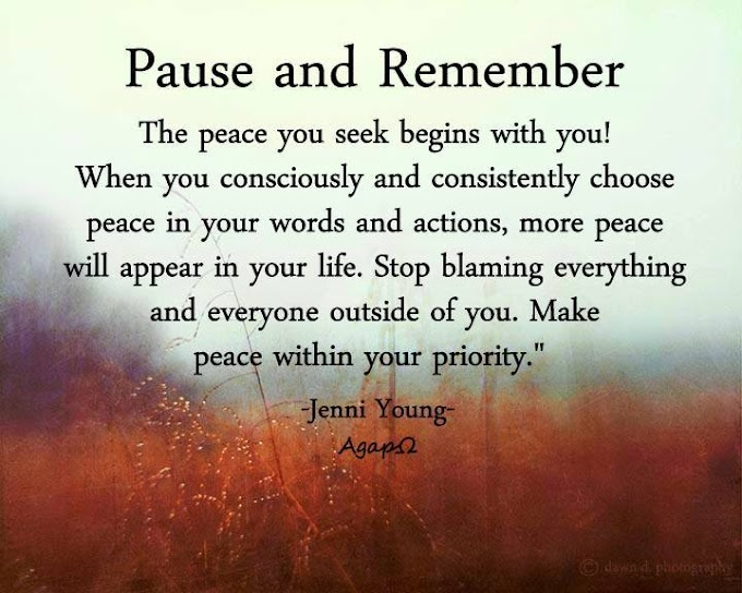 Pause and remember— The peace you seek begins with you! When you consciously and consistently choose peace in your words and actions, more peace will appear in your life. Stop blaming everything and everyone outside of you. Make peace within your priority.