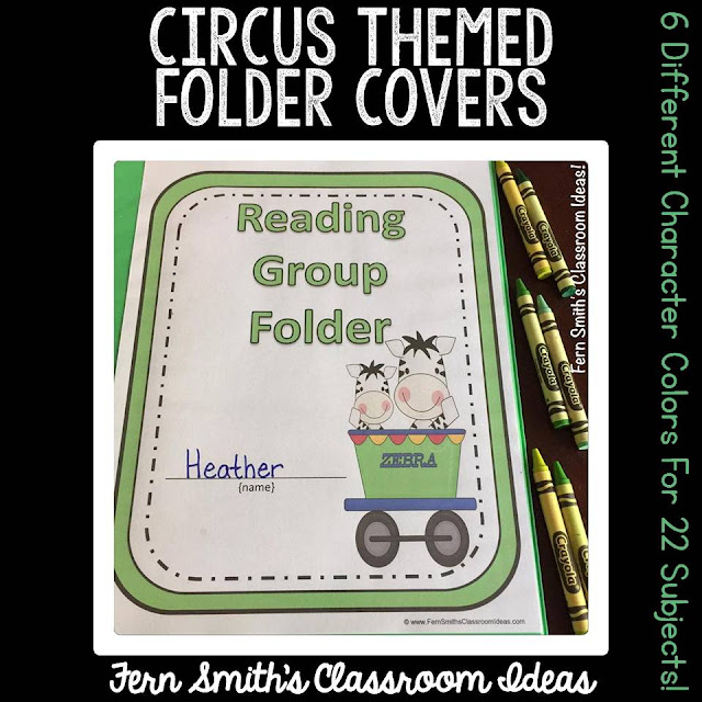 Do You Have a Circus Classroom Theme? Your students will love these daily work folder covers for their student binders and you will love how organized these folders make your classroom management easier! There are SIX different character / color schemes included in this download:  1. Zebra Circus Train with a Green Border. 2. Circus Elephant with a Bright Blue Border. 3. Monkey Circus Train with a Yellow Border. 4. Circus Hippo with a Red Border. 5. Giraffe Circus Train with a Light Blue Border. 6. Circus Train with a Clown Conductor with a Dark Gray Border. Fern Smith's Classroom Ideas at TeachersPayTeachers.
