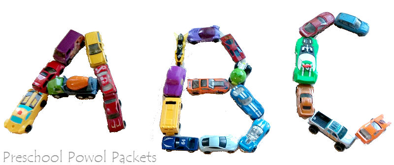 you can use those huge collections of toy cars how did we ever get so many to teach letters and reading clearly from the pictures we simply lined