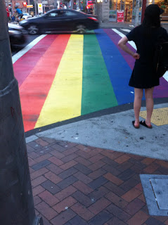 Rainbow pedestrian crossing.