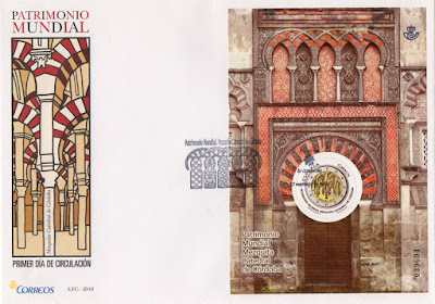 Sobre PDC con hoja bloque de moneda de dos euros Mezquita de Córdoba