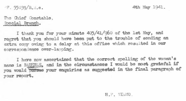 May 4, 1941 - KV 2/25 - 76a - MI5 to Special Branch re: correct spelling of Bauerle.