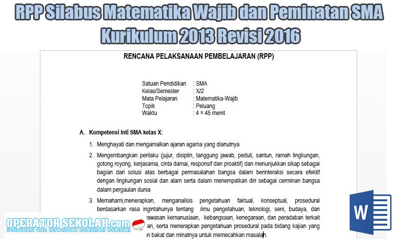 RPP Silabus Matematika Wajib dan Peminatan SMA Kurikulum 2013 Revisi 2016
