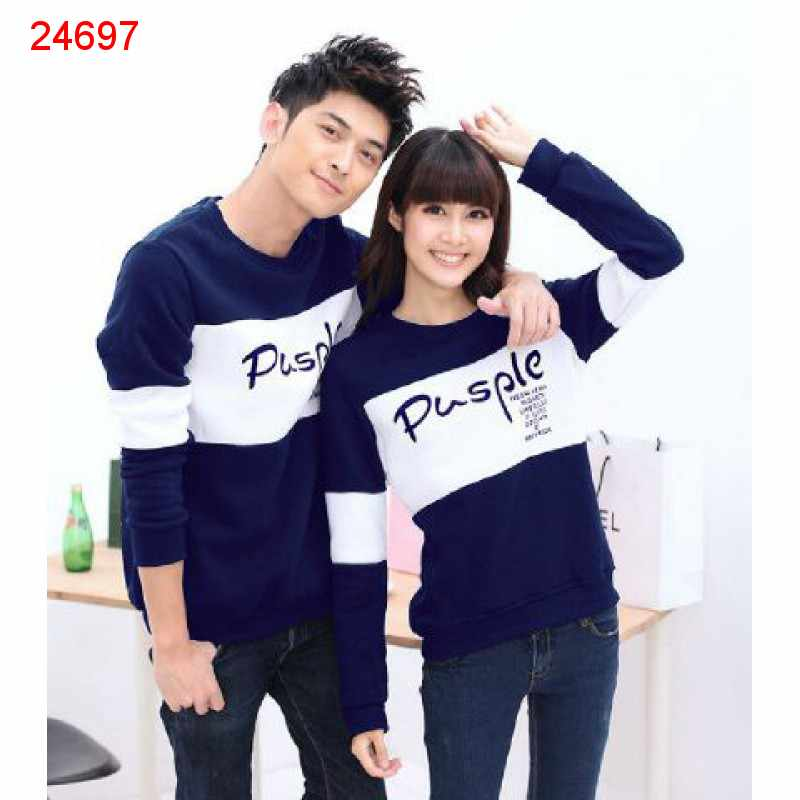 Jual Sweater Couple Sweater Pusple Neo Navy White - 24697