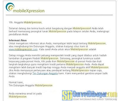 Notifikasi melalui email berisi password akun MobileXpression anda | SurveiDibayar.com