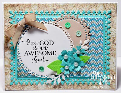 Our Daily Bread Designs Stamp Set: God Quotes 2, Custom Dies: Fancy Circles, Lavish Layers, Bitty Blossoms, Foliage and Leaves, Paper Collection: By the Shore