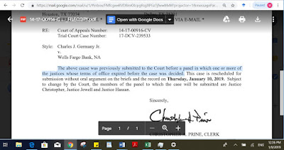 No. 14-17-00916-CV Houston Court of Appeals  Germany v. Wells Fargo Bank - Notice of Change in Appellate Panel Composition
