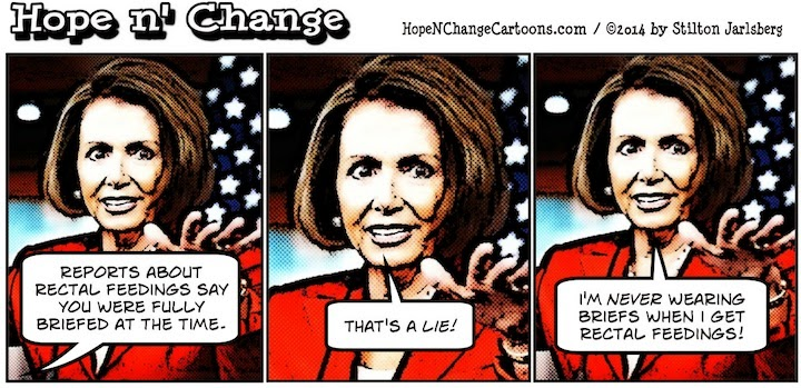 obama, obama jokes, political, humor, cartoon, conservative, hope n' change, hope and change, stilton jarlsberg, pelosi, torture, report, rectal feedings