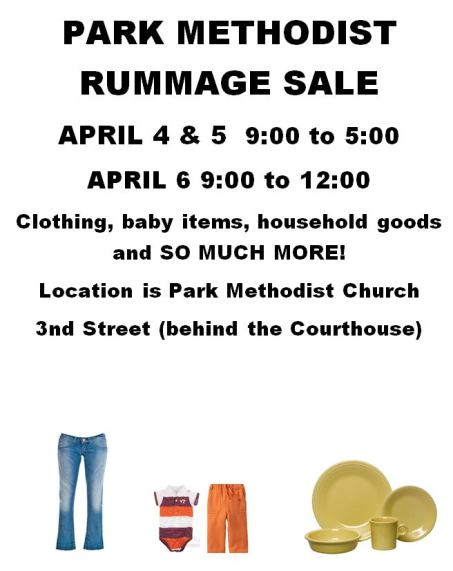 4-4/5/6 Park Methodist Rummage Sale