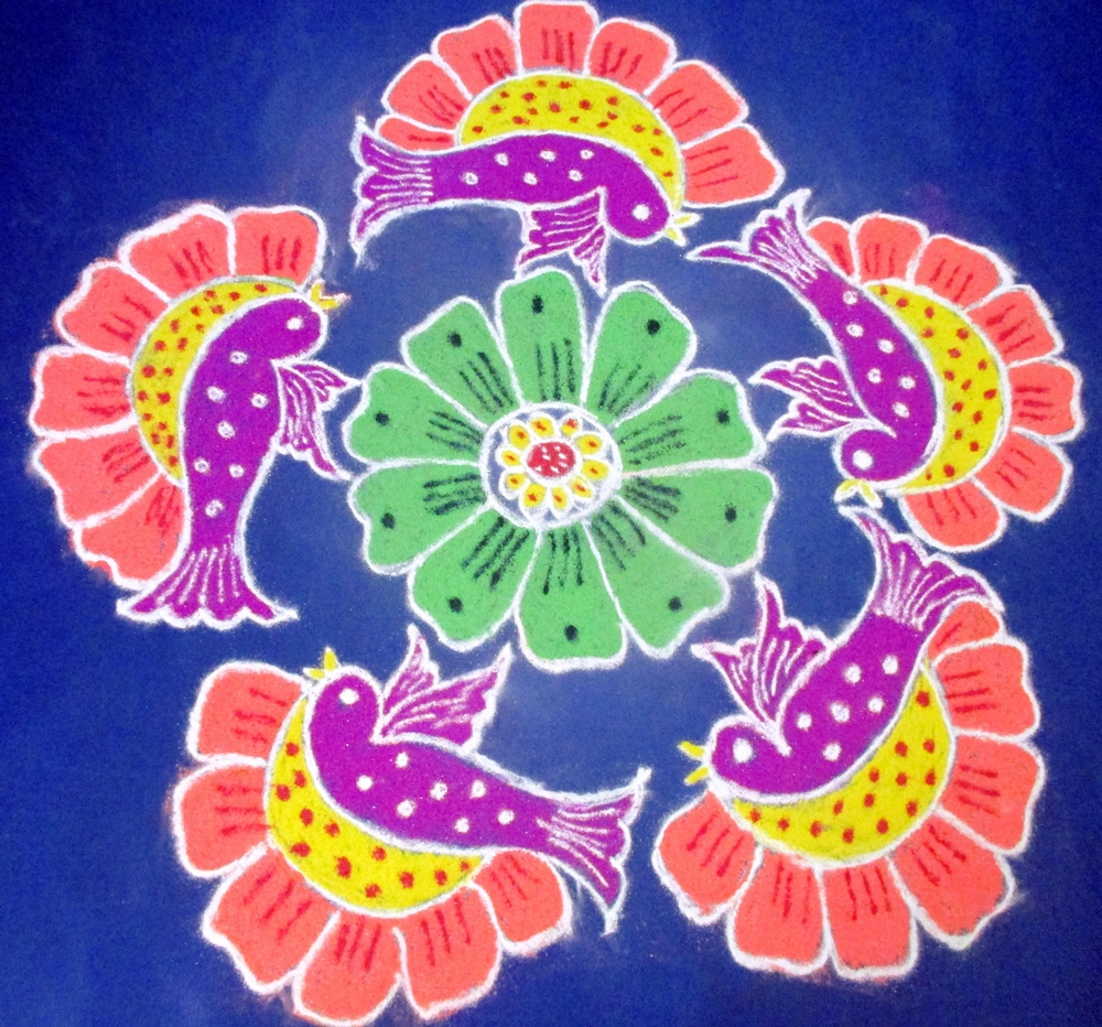 Happy Holi Rangoli Design