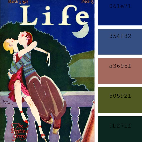 vintage Life magazine covers color palettes, color of the day cedar wood